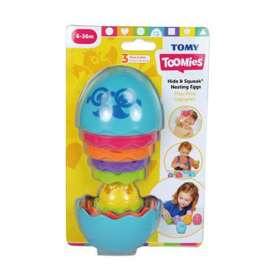 Tomy Toomies Hide & Squeak Nesting Eggs, skrij jajčka in špricaj TMY-TOY30
