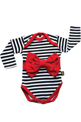 Rockabye Baby Red Bow Stripe Long Sleeve BODY, 3-6 M, RBBBS02-02