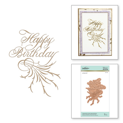 Spellbinders Copperplate Script Happy Birthday Hot Foil Plate, Šablona za vročo folijo GLP-018