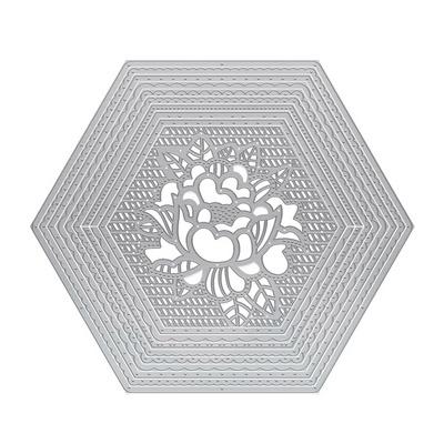 2155e Peony Hexagon Layering Die Set Tonic Studios