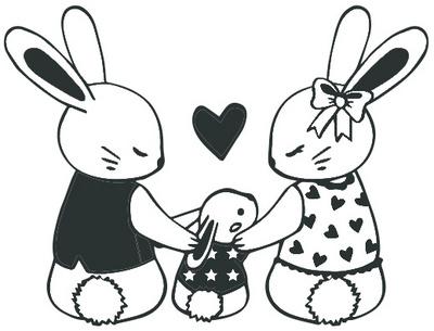 Aladine Rubber Štampiljka Rabbit Family 01779
