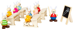 LEGLER leseni Rabbit's School Play Set, Zajčki v šoli 11315