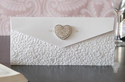 HEARTS EMBOSSED Luksuzni  paper papir SNOW WHITE 14945