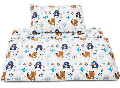 JUKKL komplet posteljnine HAPPY FRIENDS BLUE, 120/90cm - 53370